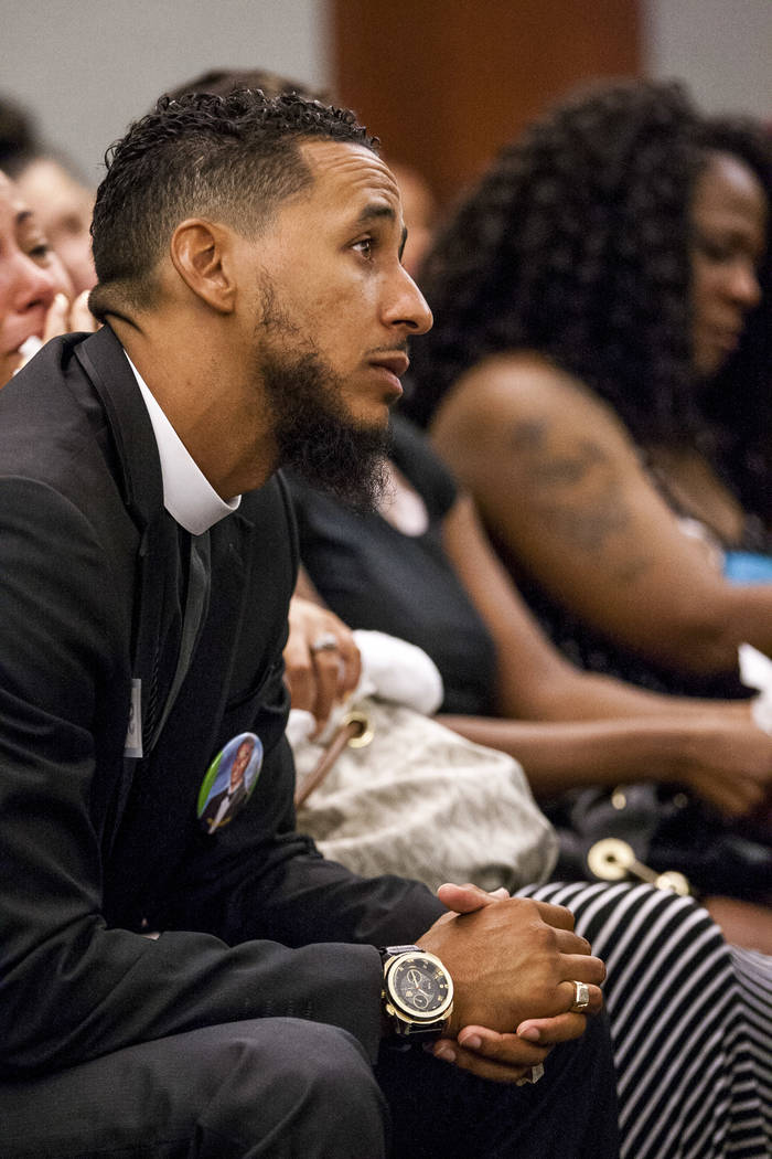 Pastor Michael Gantz, a friend of Roland Pleasant, during the sentencing at the Regional Justice Center in Las Vegas on Monday, July 17, 2017, for Eric Javon Bell, who pleaded guilty to killing 18 ...