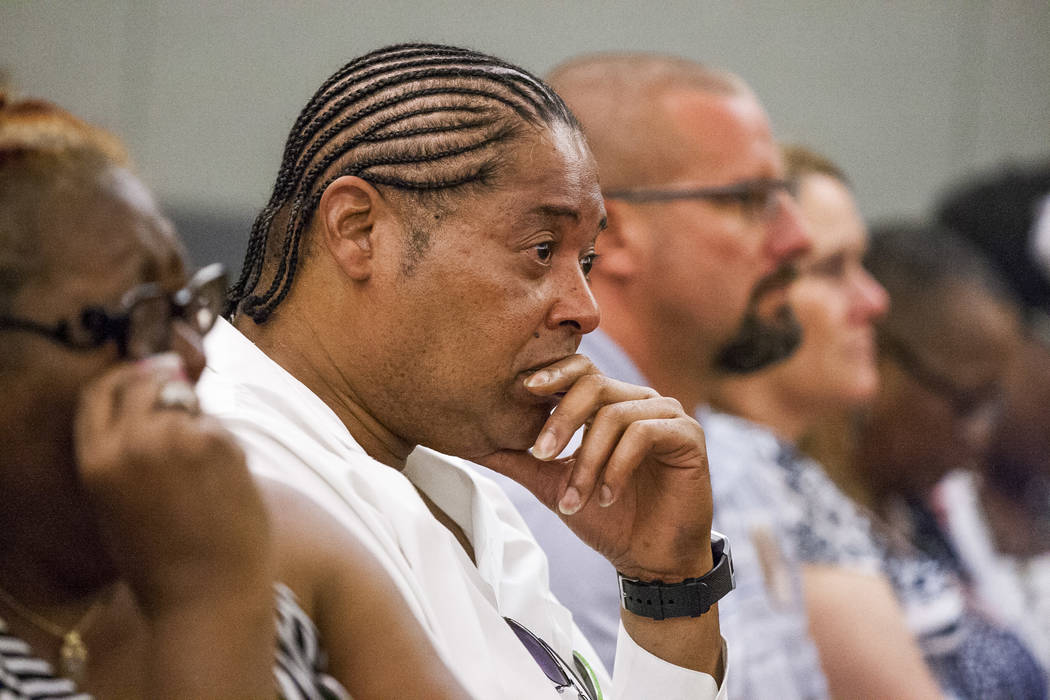 Anthony Portis, the fiancé of Roberta Garcia (mother of Roland Pleasant), has an emotional moment during sentencing for Eric Javon Bell at the Regional Justice Center in Las Vegas on Monday, July ...