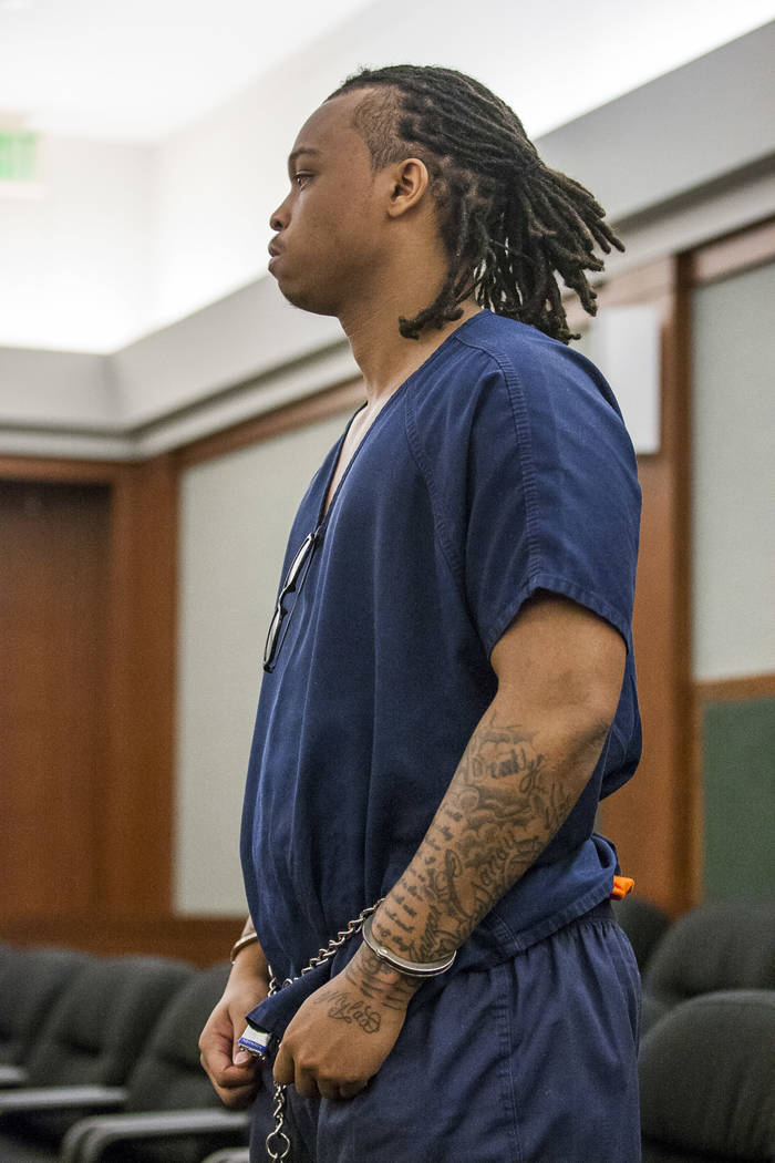 Eric Javon Bell, who pleaded guilty to killing 18-year-old Roland Pleasant, stands for his sentencing at the Regional Justice Center in Las Vegas on Monday, July 17, 2017.  Patrick Connolly Las Ve ...