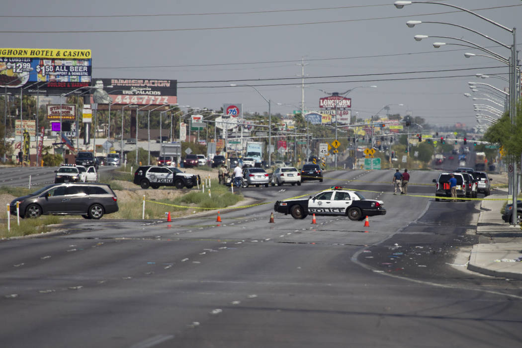 The scene where a pedestrian was fatally struck crossing Boulder Highway near Russell Road in Las Vegas on Saturday, July 15, 2017. Erik Verduzco Las Vegas Review-Journal @Erik_Verduzco