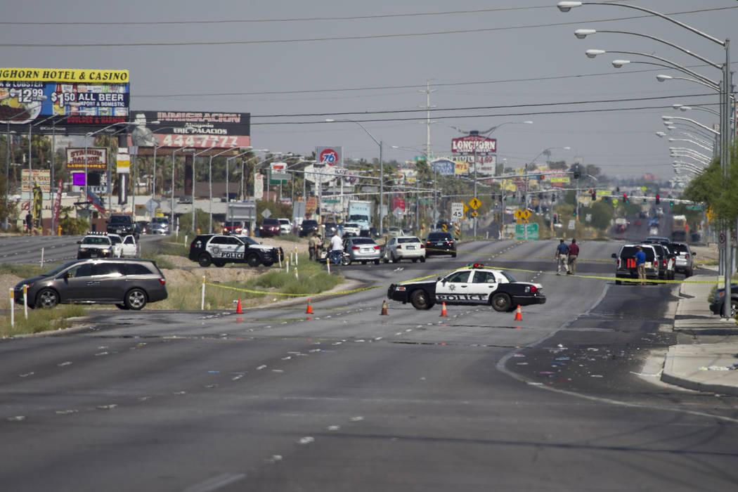 The scene where a pedestrian was fatally struck crossing Boulder Highway near Russell Road in Las Vegas on Saturday, July 15, 2017. Erik Verduzco Las Vegas Review-Journal @Erik_Verduzco