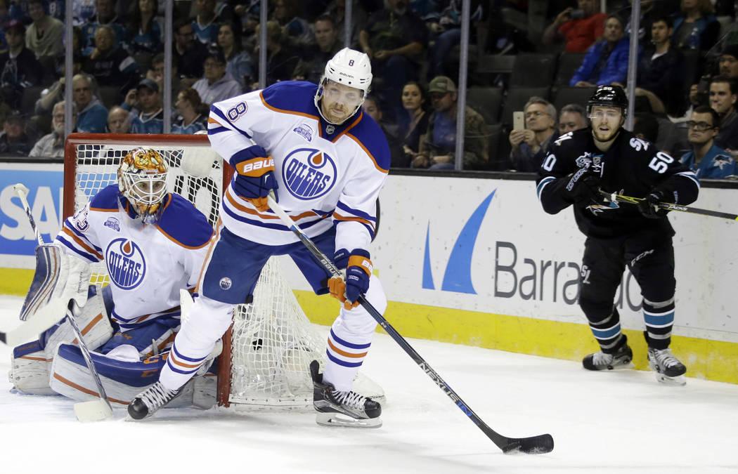 Edmonton Oilers' Griffin Reinhart (8) during an NHL hockey game against the San Jose Sharks Thursday, March 24, 2016, in San Jose, Calif. (AP Photo/Marcio Jose Sanchez)