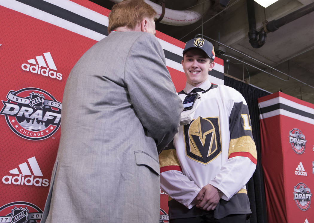 Cody Glass, right, who was selected sixth overall by the Vegas Golden Knights in the 2017 NHL Entry Draft, is interviewed by the Review-Journal's Ed Graney in Chicago, Illinois, on Friday, June 23 ...