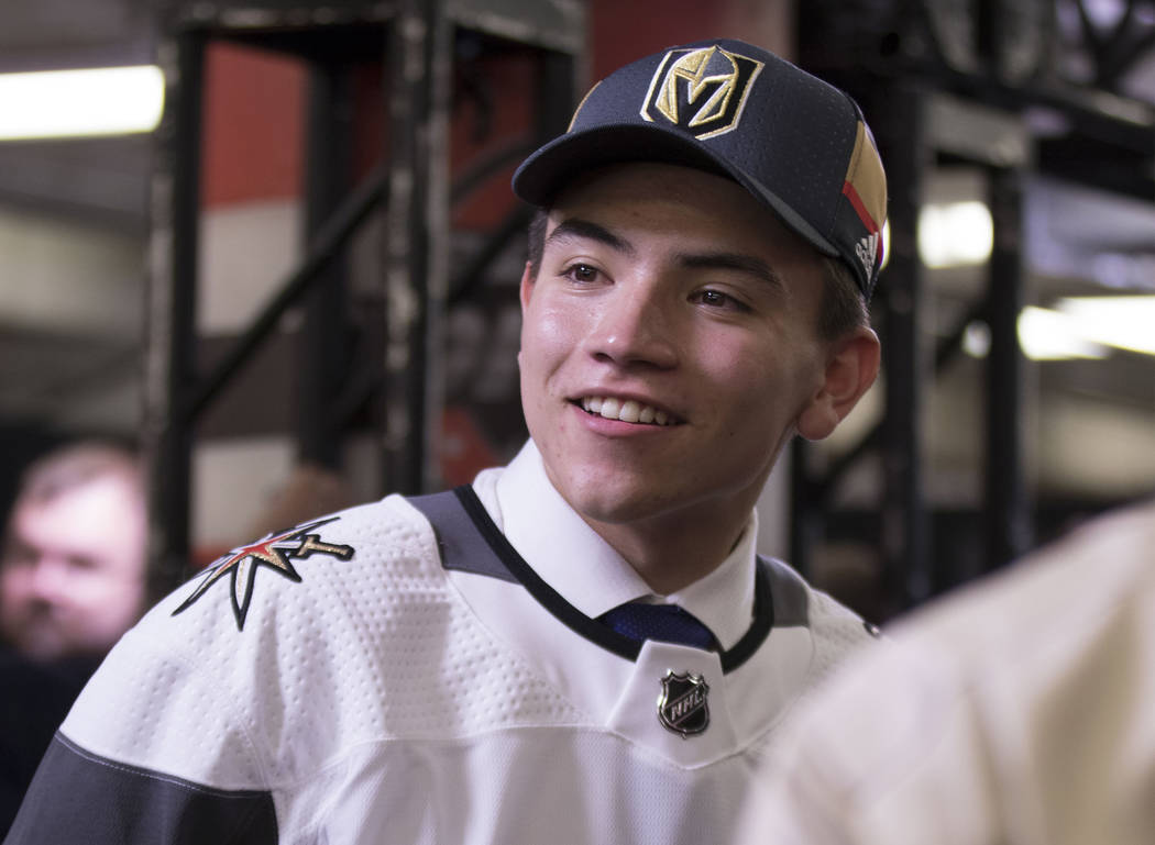 Nick Suzuki, the 13th pick selected by the Vegas Golden Knights in the first round of the 2017 NHL Entry Draft, with media at the United Center in Chicago on Friday, June 23, 2017. Heidi Fang/Las  ...