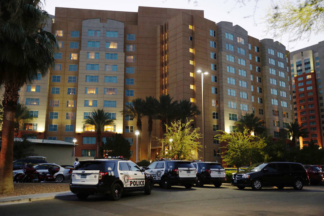 Police work outside The Grandview at Las Vegas after a 3-year-old was found suffering from heat exhaustion in Las Vegas, Saturday, July 15, 2017. The child later died. (Gabriella Angotti-Jones Las ...
