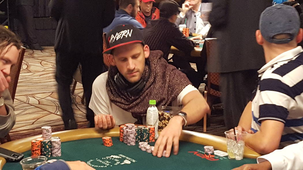 Robin Hegele of Munich has the chip lead to open Day 6 of the World Series of Poker's $10,000 buy-in No-limit Texas Hold 'em World Championship at the Rio Convention Center on Sunday. (David Sch ...