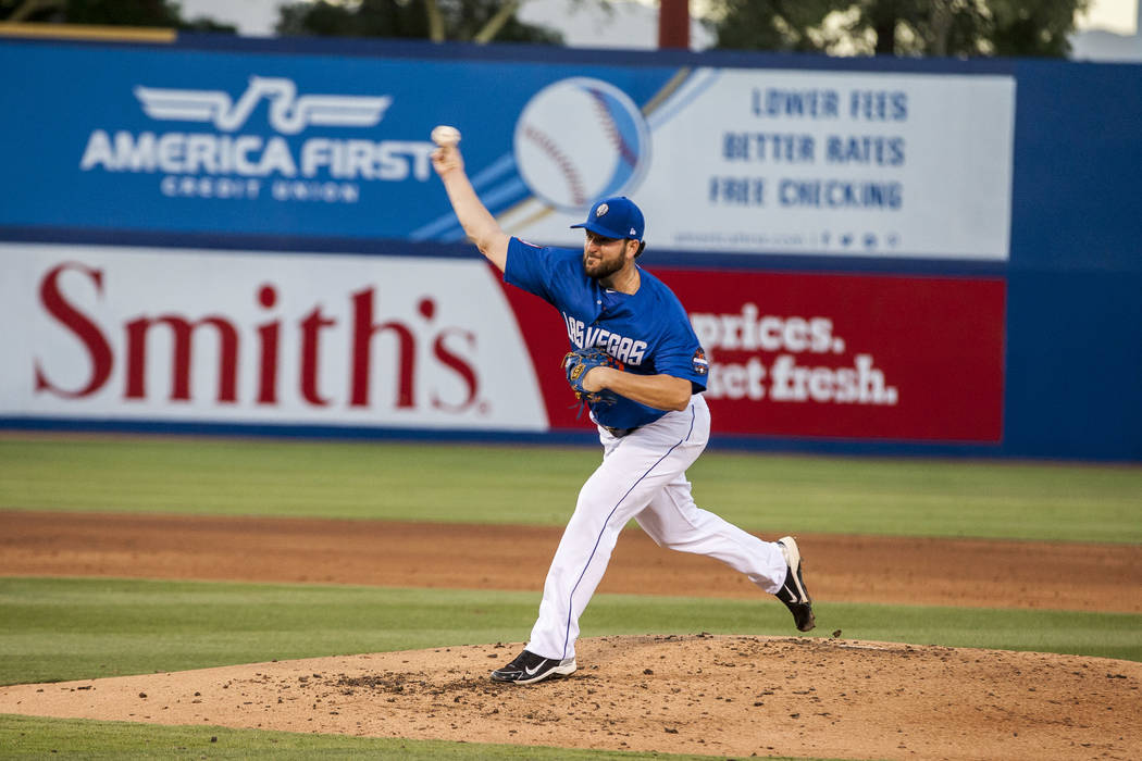 Donovan Hand pitches during a Las Vegas 51s game in June. (Patrick Connolly Las Vegas Review-Journal @PConnPie)