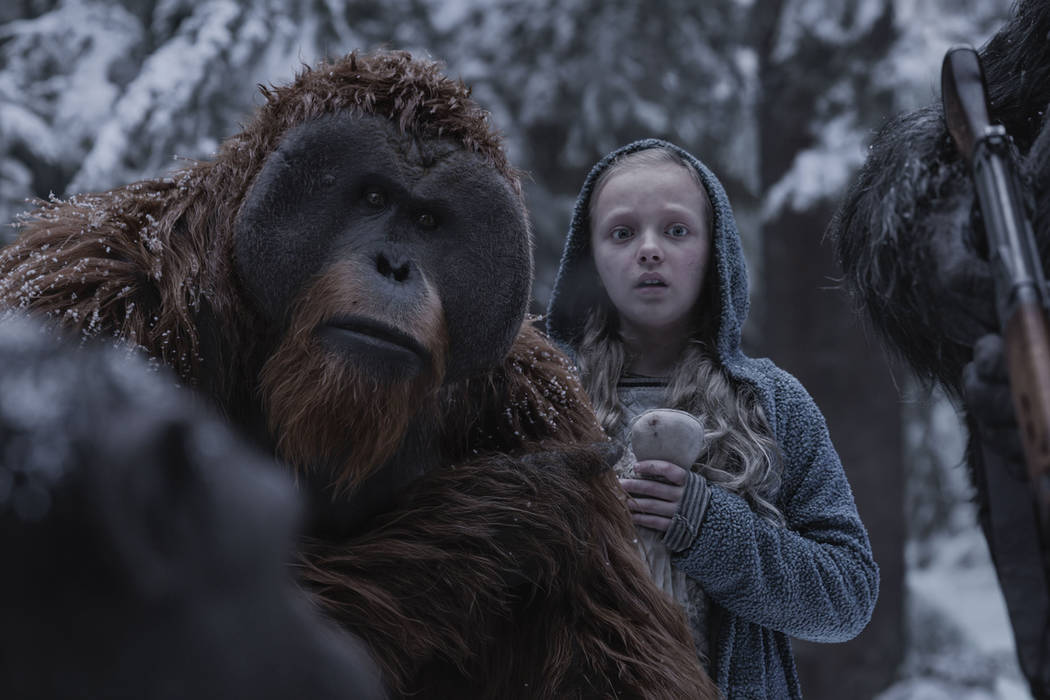 """Karin Konoval, left, and Amiah Miller in """"War for the Planet of the Apes."""" (Twentieth Century Fox)"""