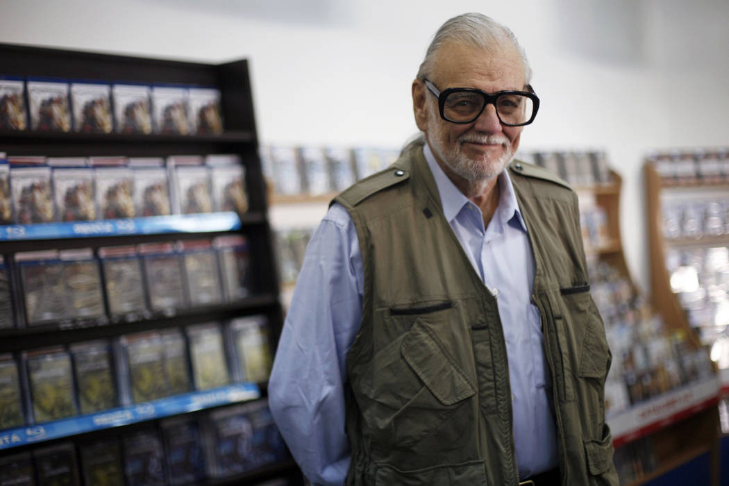 U.S. filmmaker George A. Romero, also known as the Zombie Master, poses for the media during the Hallowfest news conference in Mexico City October 21, 2011. Romero died in his sleep Sunday, July 1 ...