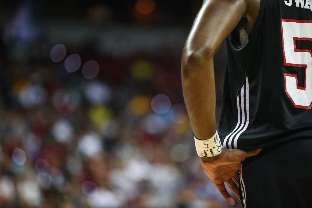 Portland Trail Blazers player  Caleb Swanigan during the NBA Summer League semifinal basketball game at Thomas and Mack Center on Sunday, July 16, 2017, in Las Vegas. Morgan Lieberman Las Vegas Re ...