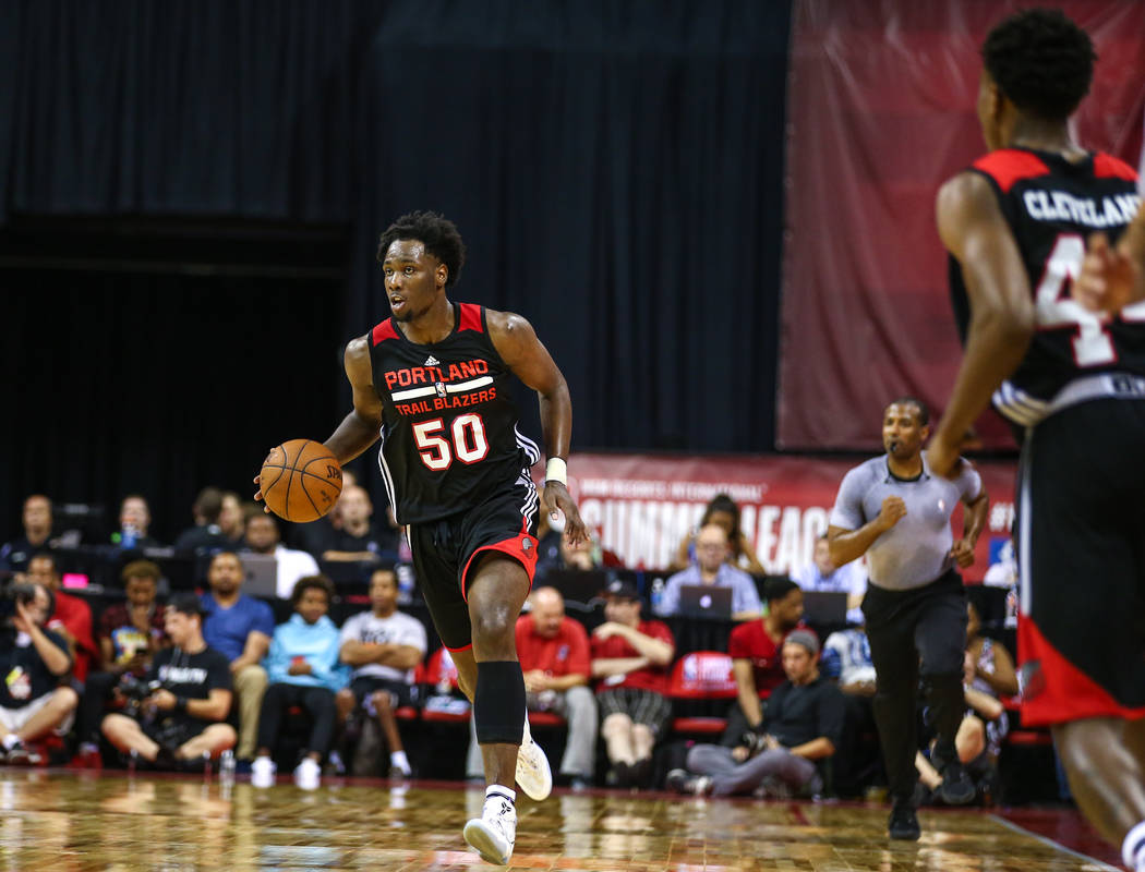 Portland Trail Blazers player Caleb Swanigan (50) during the NBA Summer League semifinal basketball game at Thomas and Mack Center on Sunday, July 16, 2017, in Las Vegas.