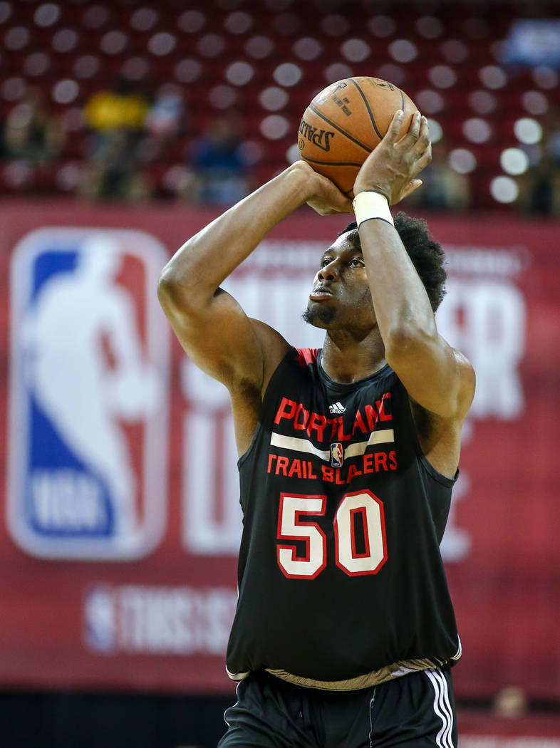 Portland Trail Blazers player Caleb Swanigan during the NBA Summer League semifinal basketball game at Thomas and Mack Center on Sunday, July 16, 2017, in Las Vegas.
