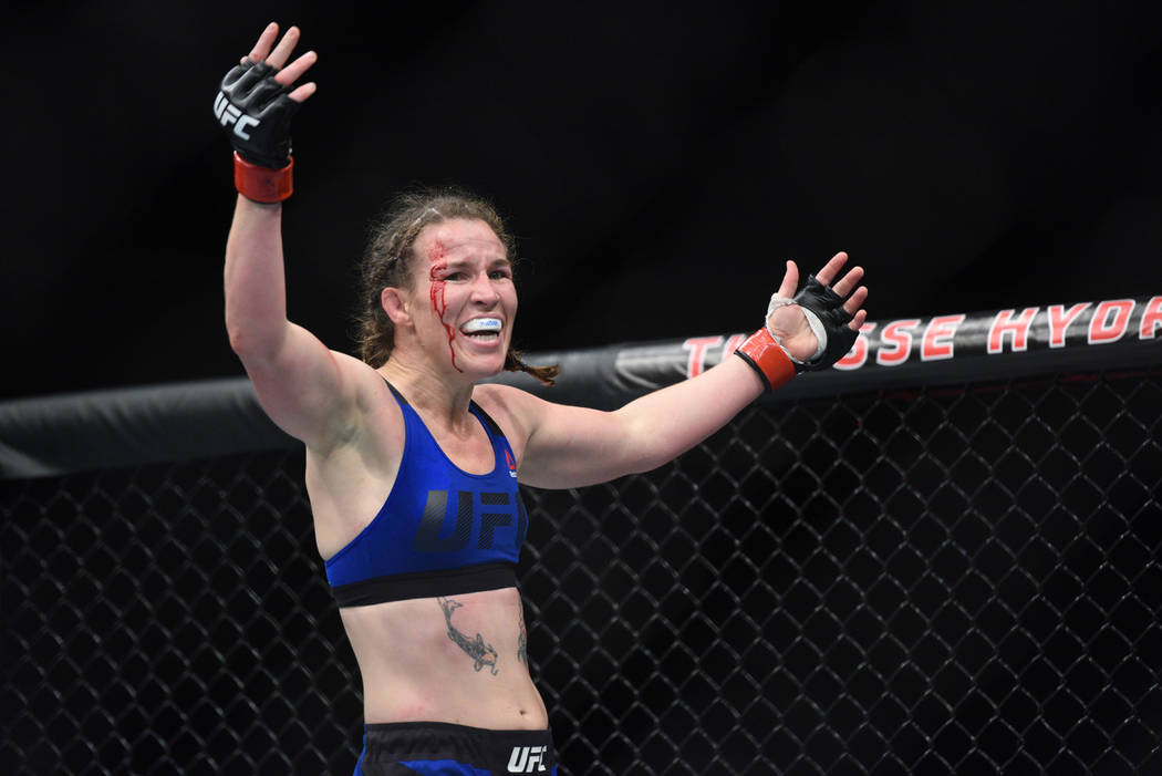 Leslie Smith reacts after defeating Amanda Lemos (not pictured) during UFC Fight Night on July 16 in Glasgow, Scotland. (Per Haljestam-USA TODAY Sports)