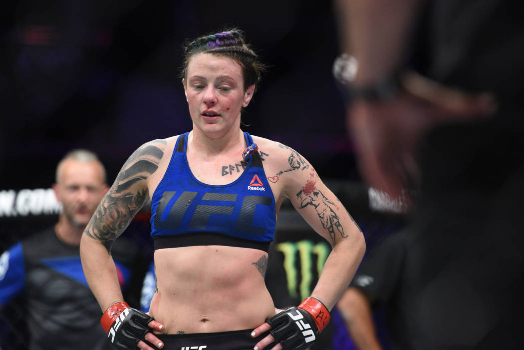 Jul 16, 2017; Glasgow, Scotland, United Kingdom; Joanne Calderwood (red gloves) reacts after her loss to Cynthia Calvillo (not pictured) during UFC Fight Night at SSE Hydro. Mandatory Credit: Per  ...