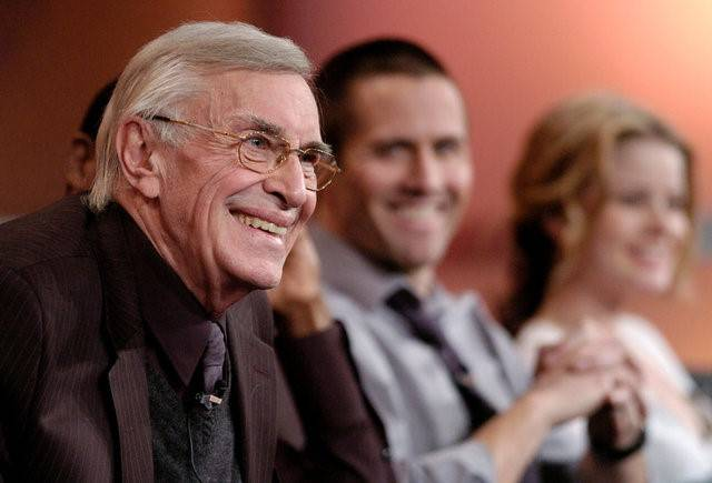 "FILE PHOTO -  Martin Landau (L), a cast member in the ABC drama series ""The Evidence,"" participates in a Q&A session with fellow cast members Rob Estes (C) and Anita Briem at ..."