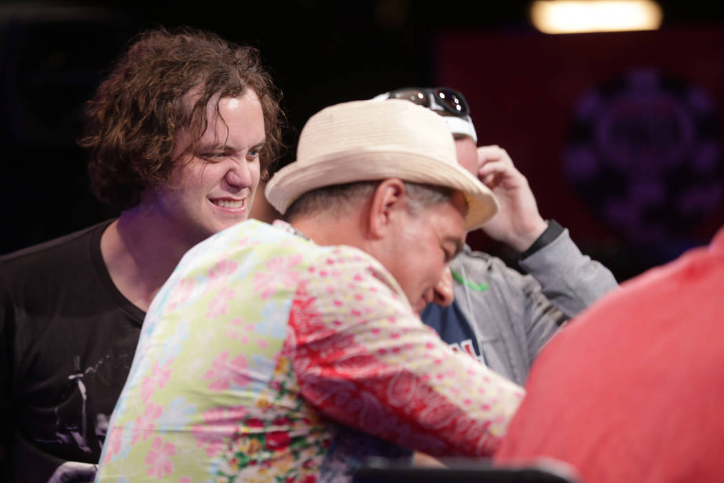 Michael Ruane, left, plays poker during Day 6 of the World Series of Poker on Sunday, July 16, 2017, at the Rio hotel-casino in Las Vegas. Rachel Aston Las Vegas Review-Journal @rookie__rae