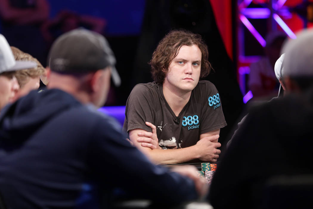 Michael Ruane, center, plays poker during Day 6 of the World Series of Poker on Sunday, July 16, 2017, at the Rio hotel-casino in Las Vegas. Rachel Aston Las Vegas Review-Journal @rookie__rae