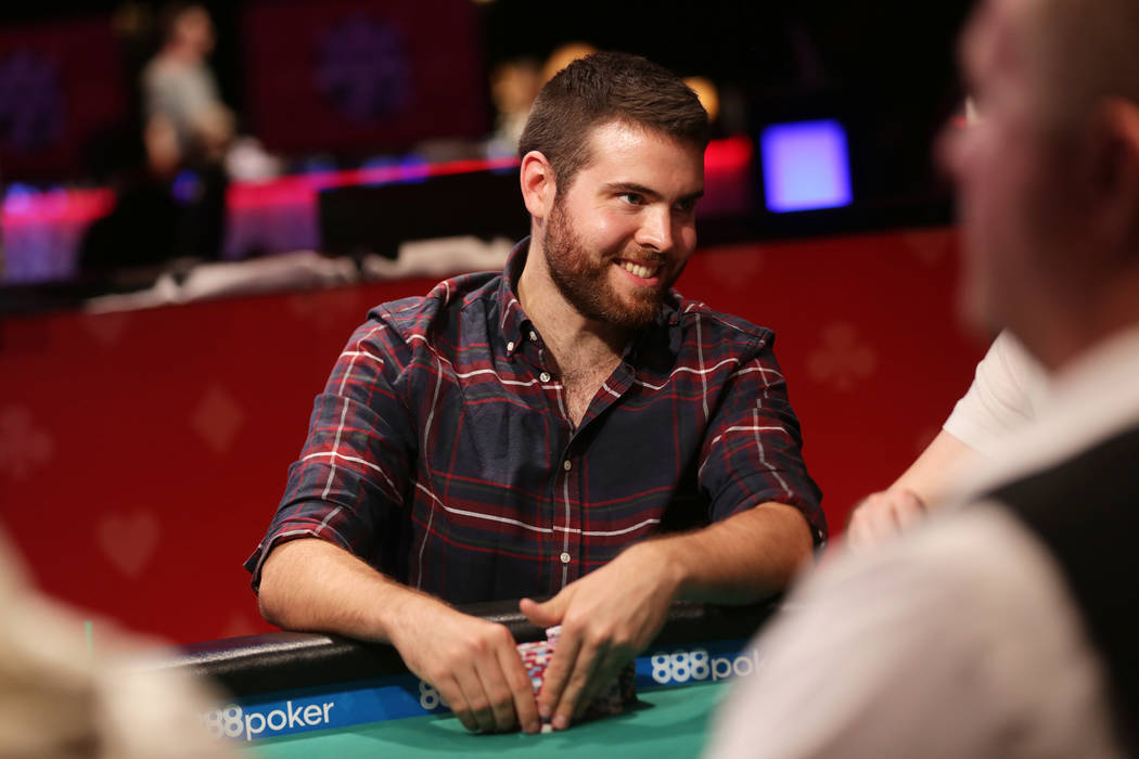 Jack Sinclair talks to another player while playing poker on day six of the World Series of Poker on Sunday, July 16, 2017, at the Rio hotel-casino in Las Vegas. Rachel Aston Las Vegas Review-Jour ...