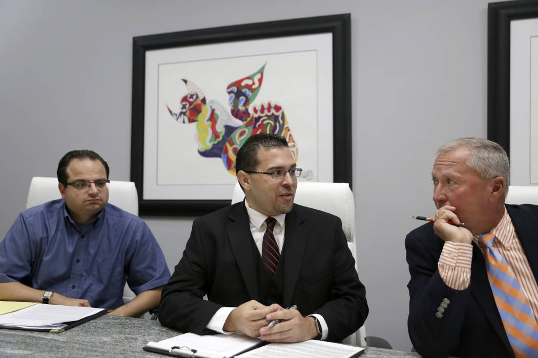 Former officers of the Teachers Health Trust, who were terminated or left, from left: executive assistant Michael Ielpi, Director of Operations Philip DiGiacomo and CEO Gary Earl at Lagomarsino La ...