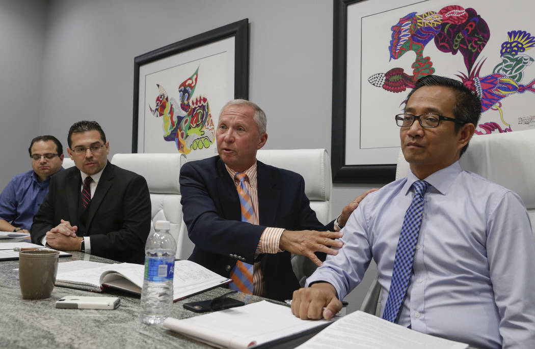Former officers of the Teachers Health Trust, who were terminated or left, from left: executive assistant Michael Ielpi, Director of Operations Philip DiGiacomo, CEO Gary Earl and Chief Operating  ...