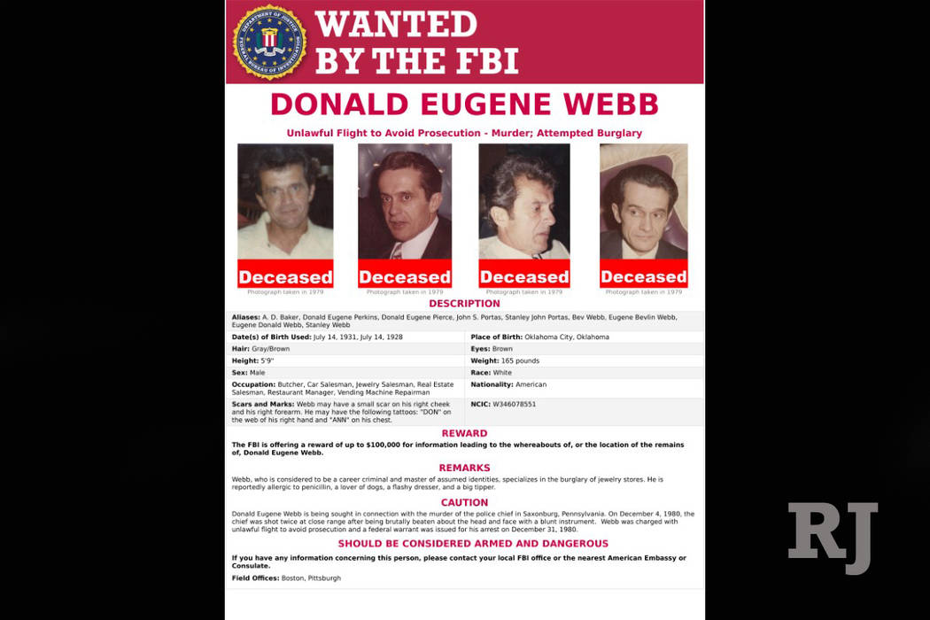 An FBI Wanted poster for Donald Eugene Webb is pictured in this undated handout photo obtained by Reuters July 14, 2017. (FBI/Handout via Reuters)
