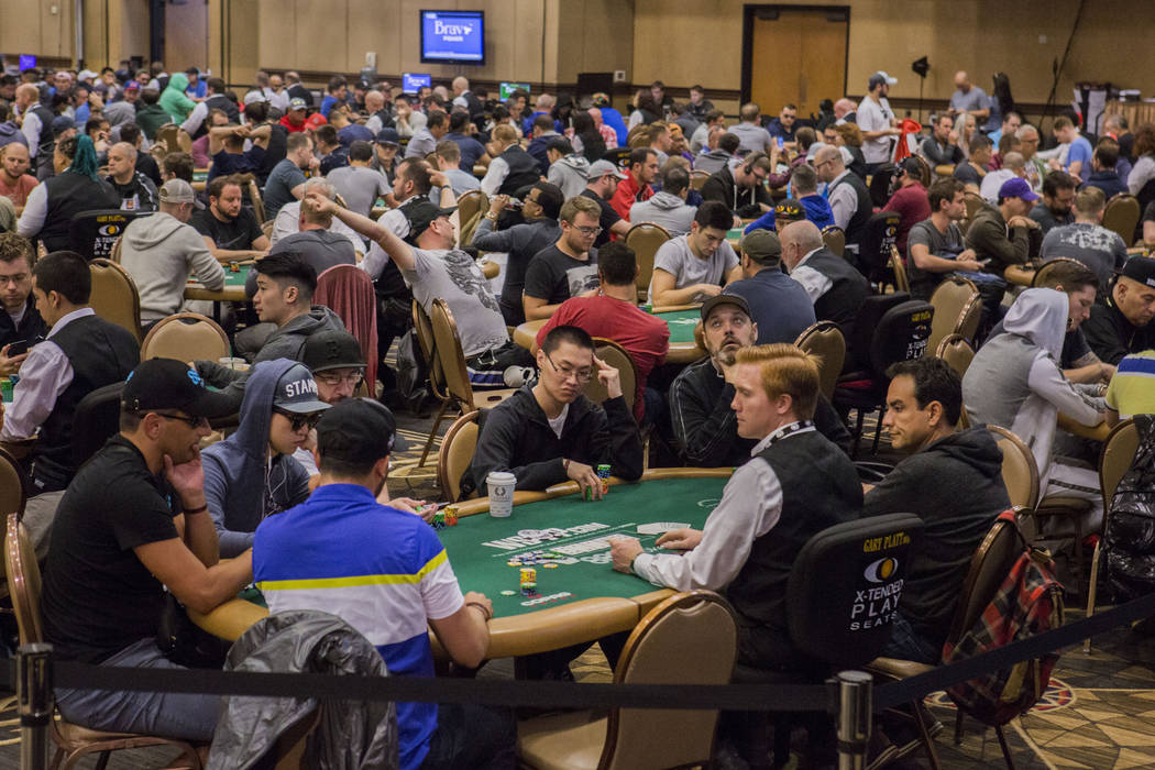 The World Series of Poker $10,000 no-limit hold 'em Main Event is underway at the Rio Convention Center in Las Vegas, Monday, July 10, 2017. (Elizabeth Brumley/Las Vegas Review-Journal)