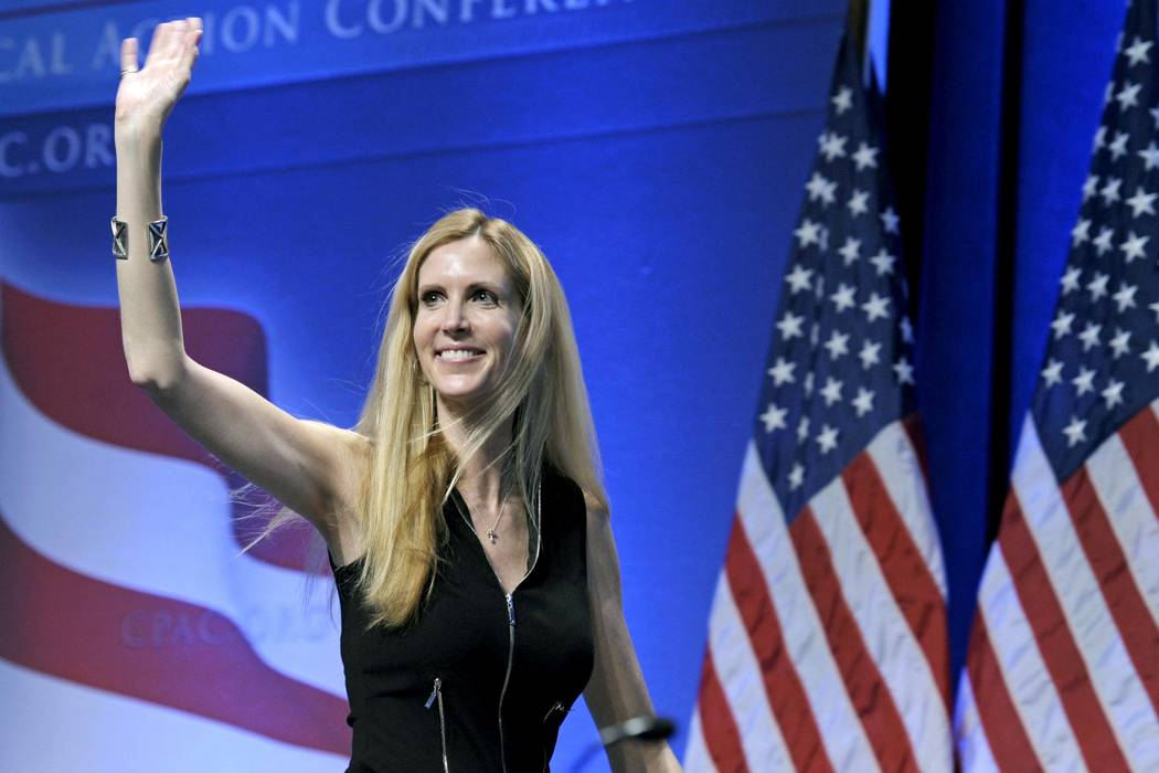 Ann Coulter waves to the audience after speaking at the Conservative Political Action Conference (CPAC) in Washington in 2011. (Cliff Owen/AP, File)