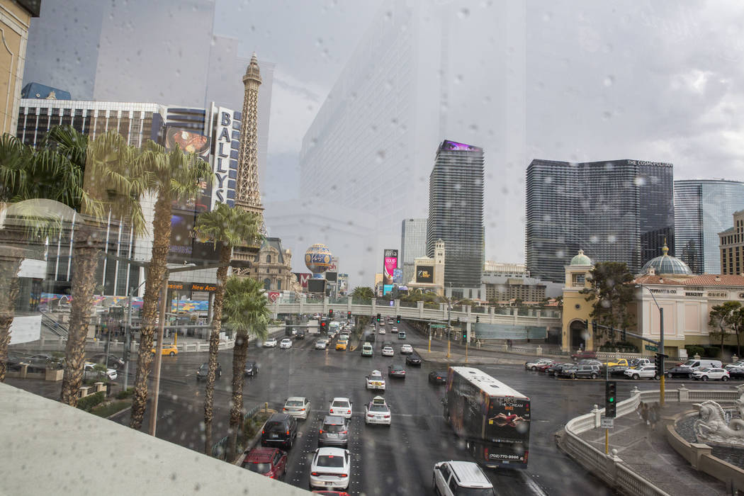 A view looking south on Las Vegas Boulevard after a rainstorm on the Las Vegas Strip on Monday, July 17, 2017.  Patrick Connolly Las Vegas Review-Journal @PConnPie