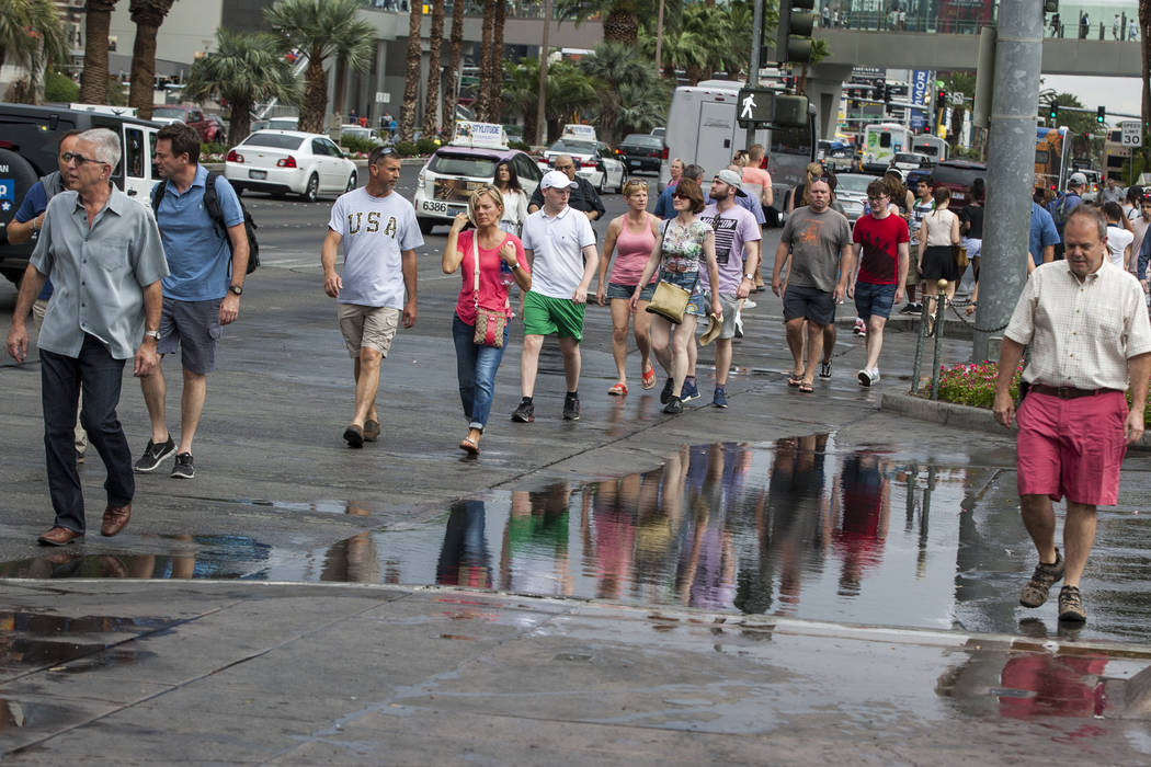 Pedestrians avoid a puddle after a rainstorm on the Las Vegas Strip on Monday, July 17, 2017.  Patrick Connolly Las Vegas Review-Journal @PConnPie