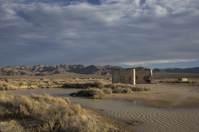 The remains of a bridge built to measure the effects from the 1957 nuclear detonation test Priscilla at Frenchman Flat. Photo taken Wednesday, Jan., 11, 2017, at the Nevada National Security Site, ...