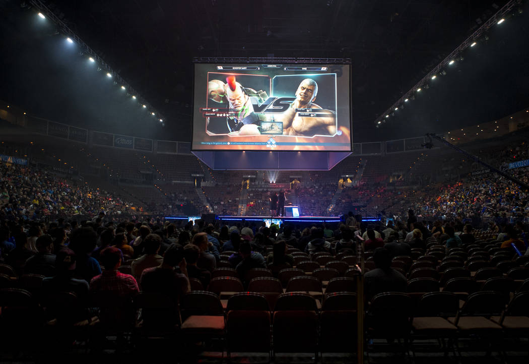 "Jae Min Bae aka ""Knee"" and Jin Woo Choi aka ""Saint""  face off in Tekken 7 during the Evo 2017 Championship Series, a fighting game tournament, at the Mandalay B ..."
