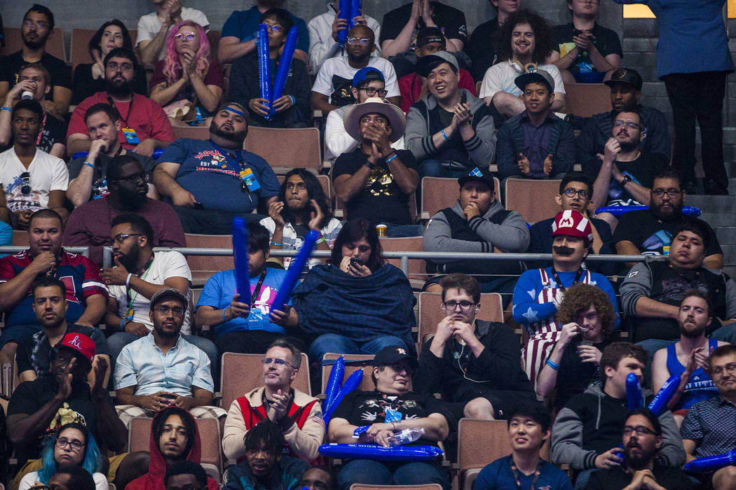 Spectators cheer during the Evo 2017 Championship Series, a fighting game tournament, at the Mandalay Bay Events Center on Sunday, July 16, 2017.  Patrick Connolly Las Vegas Review-Journal @PConnPie