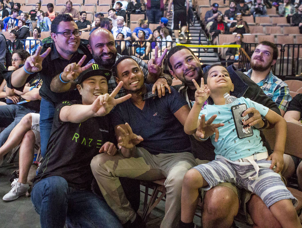 Attendees have their photo taken during the Evo 2017 Championship Series, a fighting game tournament, at the Mandalay Bay Events Center on Sunday, July 16, 2017.  Patrick Connolly Las Vegas Review ...