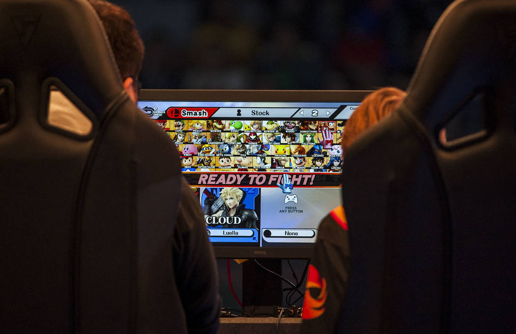 "Gonzalo Barrios aka ""ZeRo""  and Gavin Dempsey aka ""Tweek"" choose their characters in  Super Smash Bros. during the Evo 2017 Championship Series, a fighting game tou ..."