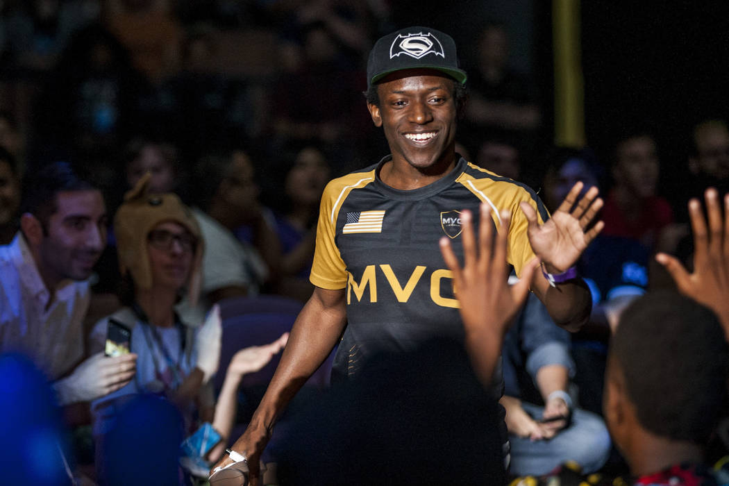 "Saleem Akiel Young aka ""Salem"" makes his entrance before playing Super Smash Bros. during the Evo 2017 Championship Series, a fighting game tournament, at the Mandalay Bay Events ..."