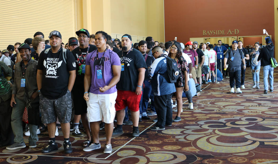 A crowd of video game players formed two hours before the 2017 Evolution Championship Series opened its doors Friday, July 14, 2017 at Mandalay Bay. Evo is an annual video gaming tournament dedica ...