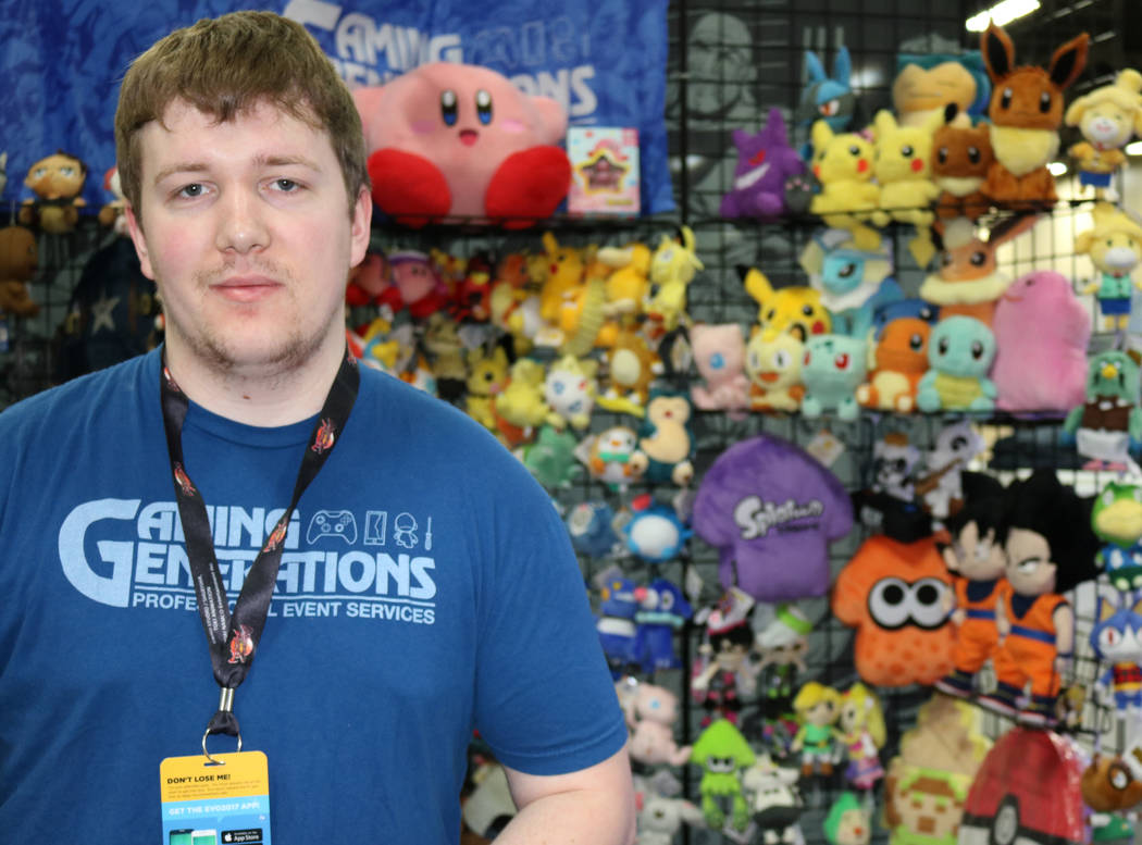 William Brown mans the Gaming Generations booth, selling equipment and merchandise to video game enthusiasts at the 2017 Evolution Championship Series Friday, July 14, 2017 at Mandalay Bay. (Nicol ...