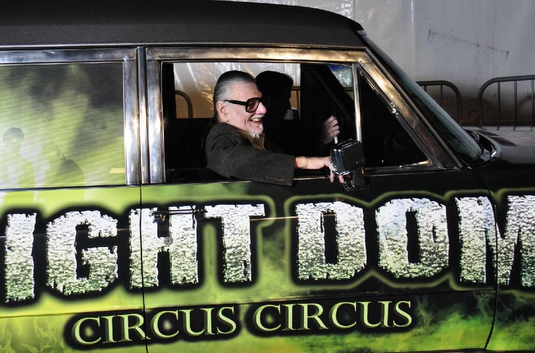 """Night of the Living Dead"" creator George Romero is shown at Fright Dome at Circus Circus on Oct. 24, 2012. Romero, who died Sunday at age 77, partnered with the attraction for a ""Living Dead"" hau ..."