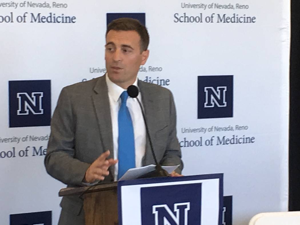 Attorney General Adam Laxalt announces $1.2 million in funding from his office for a new OB/GYN department at the University of Nevada, Reno Medical School, Monday, July 17, 2017. (Sean Whaley/Las ...