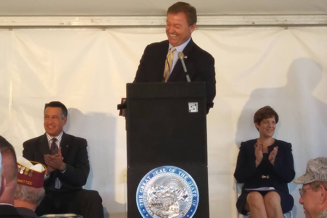 U.S. Sen. Dean Heller, R-Nevada, jokes with the audience on Monday while speaking at the groundbreaking ceremony for the 96-bed Northern Nevada State Veterans Home in Sparks. Gov. Brian Sandoval,  ...