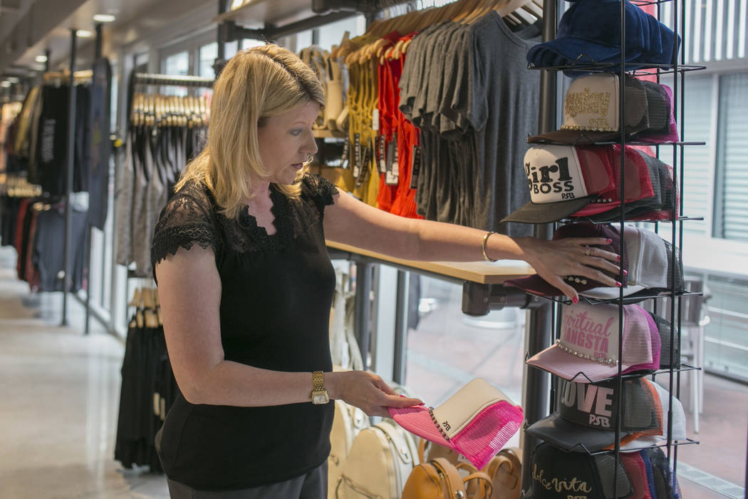 Jennifer Turner, president and CEO of M&K Enterprises, at her Vegas EXP store in the Grand Bazaar Shops on the Strip in Las Vegas, Thursday, July 20, 2017. Vegas EXP will be the first interact ...