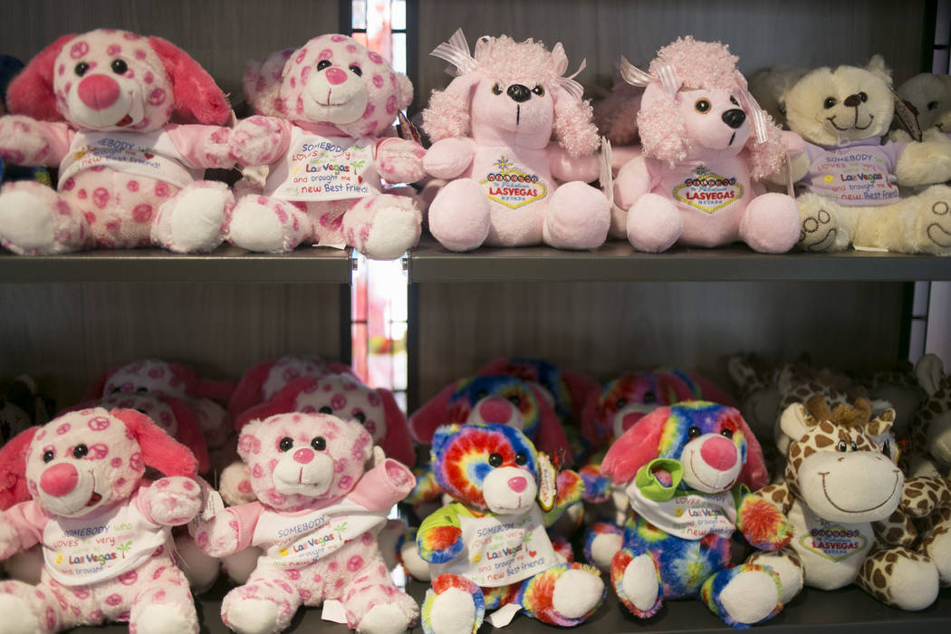 Souvenir plush animals on a shelf at Vegas EXP in the Grand Bazaar Shops on the Strip in Las Vegas, Thursday, July 20, 2017. Vegas EXP will be the first interactive digital store in Las Vegas. (Ga ...