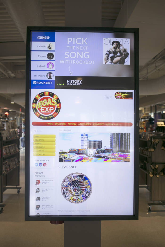 One of the many customizable screens at Vegas EXP store in the Grand Bazaar Shops on the Strip in Las Vegas, Thursday, July 20, 2017. Vegas EXP will be the first interactive digital store in Las V ...