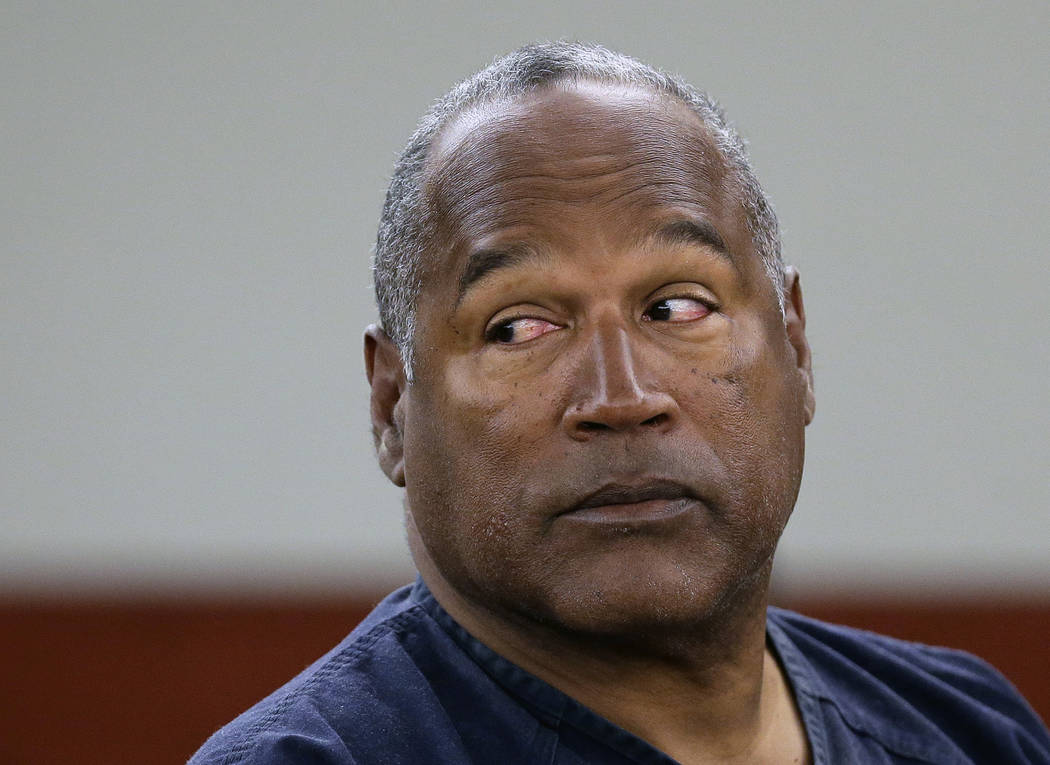 FILE - In this May 13, 2013, file photo, O.J. Simpson appears at an evidentiary hearing in Clark County District Court, in Las Vegas. Los Angeles police are investigating a knife purportedly found ...