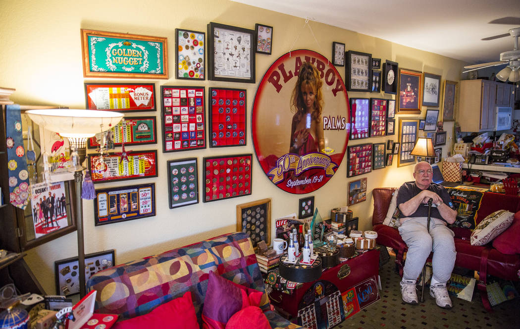 Sheldon Smith sits in the living room of his Las Vegas home, surrounded by pieces of his casino collection. (Todd Prince/Las Vegas Review-Journal)