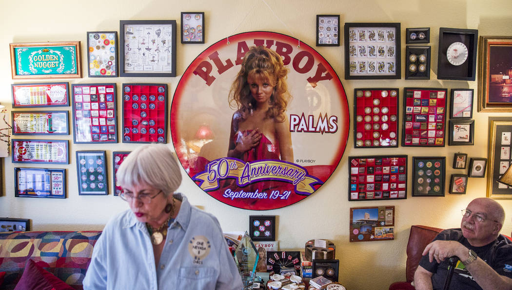 Christie Smith stands in front of a wall featuring part of the couple's poker chip collection. (Todd Prince/Las Vegas Review-Journal)