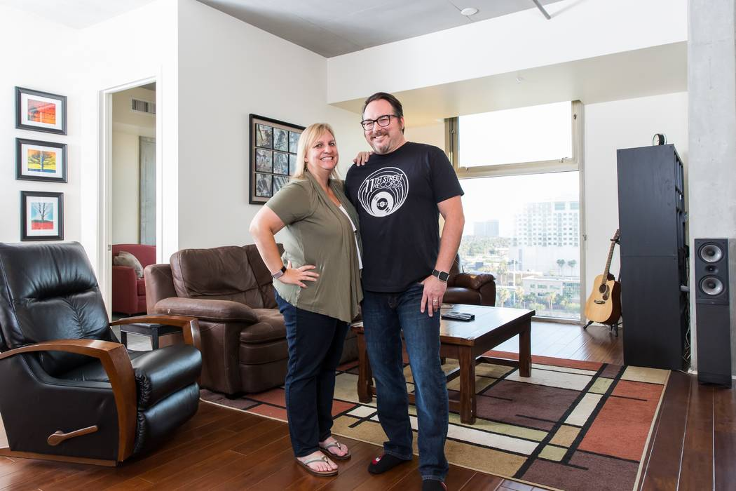 Becky and Lahm Dutro are longtime Las Vegas residents but only recently purchased their dream home at Juhl, a loft-style community in Downtown Las Vegas. (Mona Shield Payne)