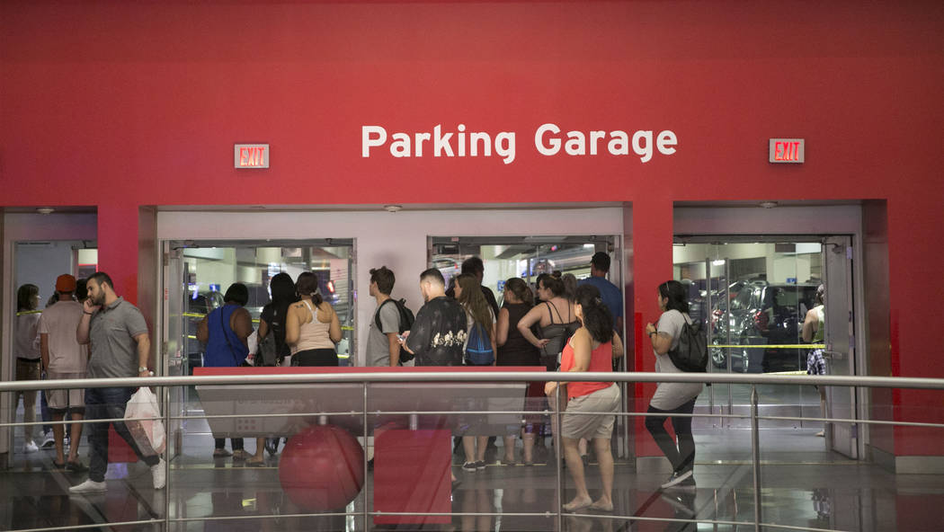 The parking garage near the Miracle Mile Shops at the Las Vegas Strip was closed after a shooting, Thursday, July 13, 2017. Metro police said two security guards were injured. (Gabriella Angotti-J ...