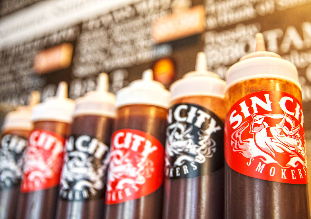 Six unique BBQ sauces highlight the menu at Sin City Smokers on Wednesday, July 19, 2017, in Henderson. Benjamin Hager Las Vegas Review-Journal @benjaminhphoto