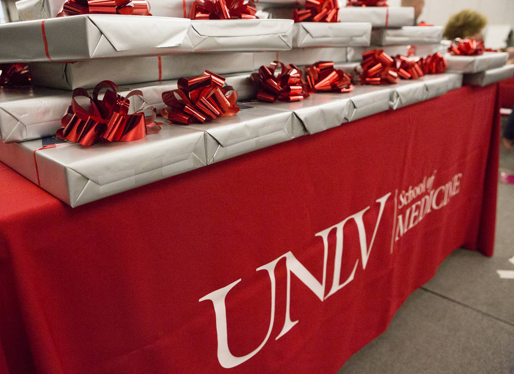 Stethoscopes are nicely wrapped prior to being presented to UNLV's inaugural class of medical students at UNLV in Las Vegas on Monday, July 17, 2017. Bridget Bennett Las Vegas Review-Journal @brid ...